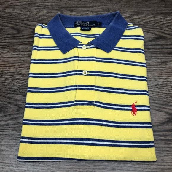 Polo by Ralph Lauren Other - Polo Ralph Lauren Yellow Blue Stripe Polo Shirt L